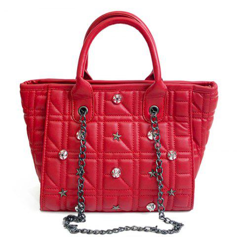Shop Chain Quilted Rivets Handbag - RED  Mobile