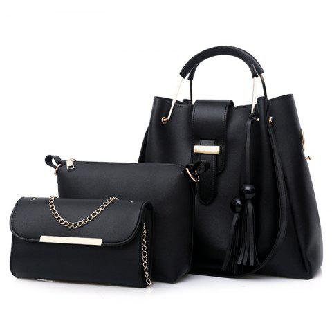 Best 3 Pieces Tassel Faux Leather Tote Bag Set