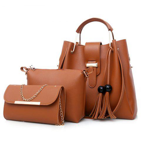 Store 3 Pieces Tassel Faux Leather Tote Bag Set