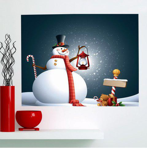 Shops Christmas Snowman Light Pattern Multifunction Decorative Wall Sticker GREY AND WHITE 1PC:24*24 INCH( NO FRAME )
