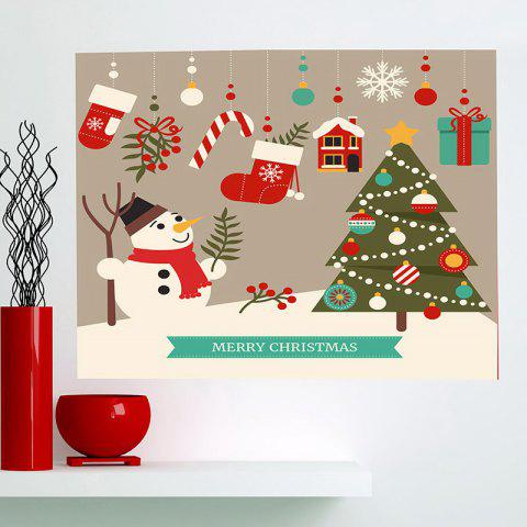 Outfits Multifunction Cartoon Christmas Snowman Pattern Wall Sticker - 1PC:24*47 INCH( NO FRAME ) COLORFUL Mobile