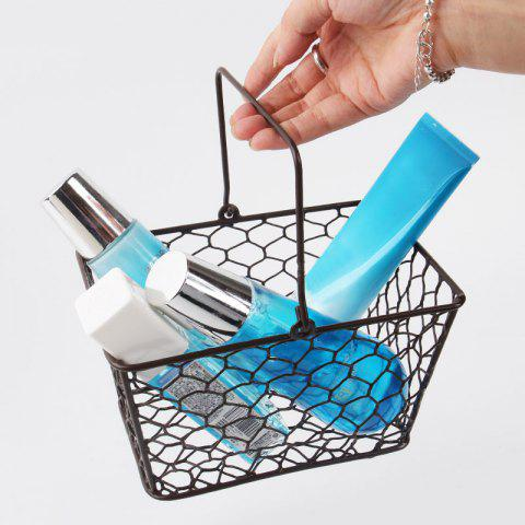 Trendy Household Portable Metal Handle Storage Basket