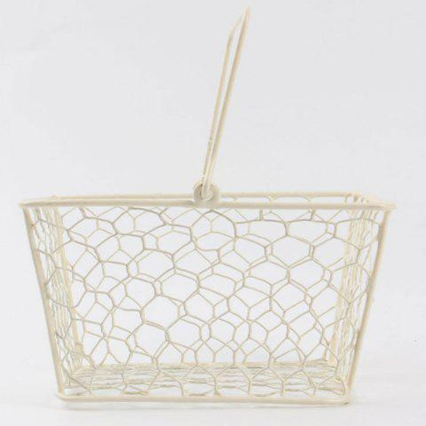 Online Household Hand Holding Metal Storage Basket MILK WHITE