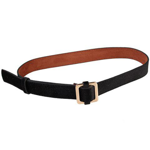 Fashion Metal Square Buckle Decorated Skinny Belt