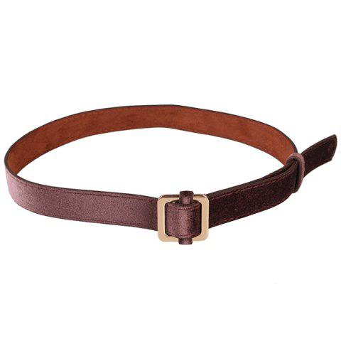 Online Metal Square Buckle Decorated Skinny Belt COFFEE