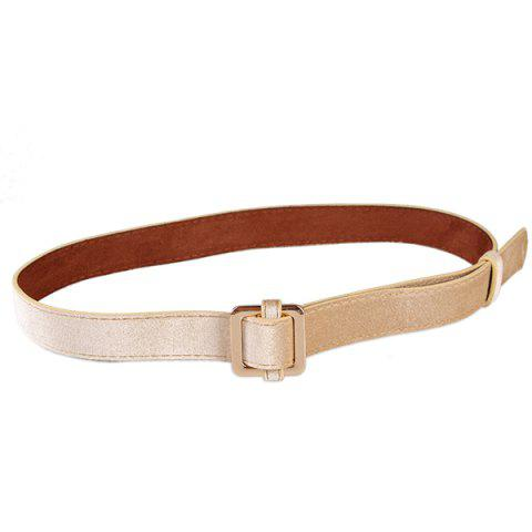 Hot Metal Square Buckle Decorated Skinny Belt