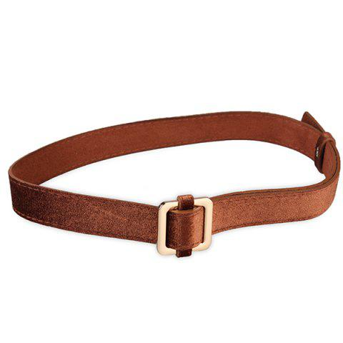 Cheap Metal Square Buckle Decorated Skinny Belt