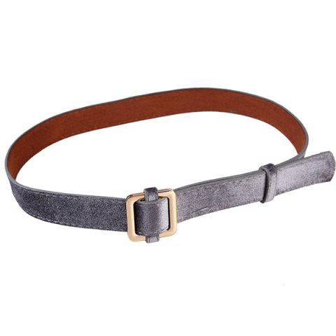 Outfit Metal Square Buckle Decorated Skinny Belt FROST