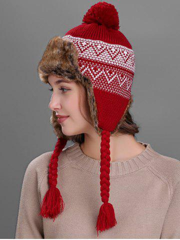 Trendy Outdoor Wave Stripe Pattern Knited Winter Hat - BURGUNDY  Mobile