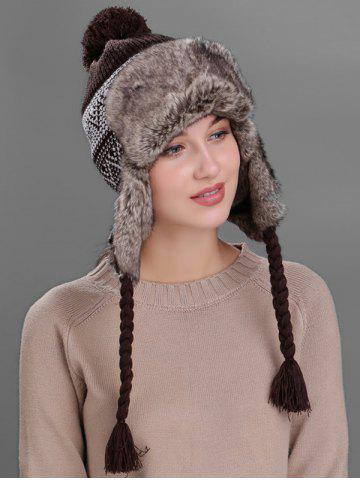 Chic Outdoor Wave Stripe Pattern Knited Winter Hat - COFFEE  Mobile