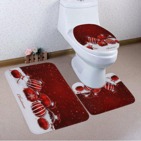 Latest Christmas Baubles Snowfield Pattern 3 Pcs Bath Mat Toilet Mat
