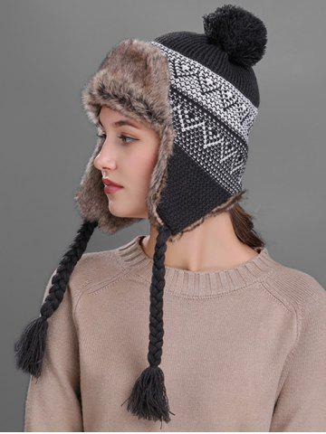 Affordable Outdoor Wave Stripe Pattern Knited Winter Hat DARK GRAY