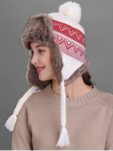 Store Outdoor Wave Stripe Pattern Knited Winter Hat - WHITE  Mobile