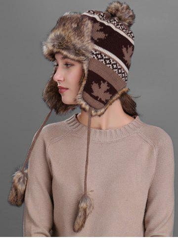 Discount Outdoor Maple leaves Pattern Earmuff Trapper Hat