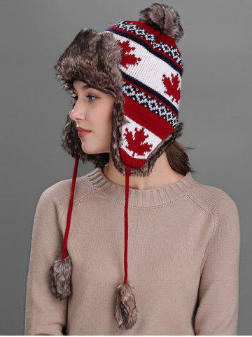 New Outdoor Maple leaves Pattern Earmuff Trapper Hat - RED  Mobile