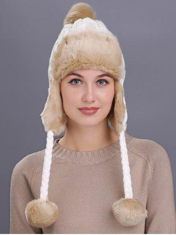 Chic Vintage Checked Pattern Thicken Knit Trapper Hat - WHITE  Mobile