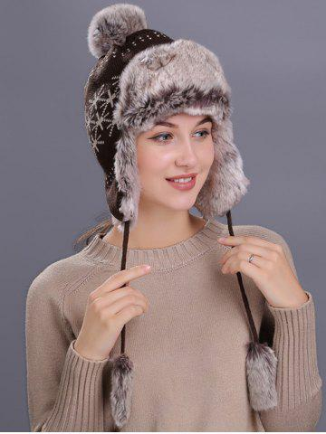 Shops Flag Pattern Thicken Knit Trapper Hat COFFEE