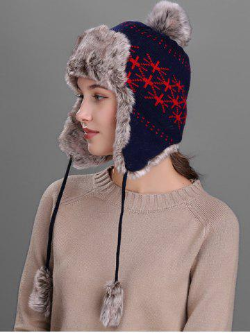 Online Flag Pattern Thicken Knit Trapper Hat - CADETBLUE  Mobile
