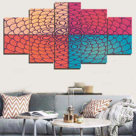 Best Unframed Artistic Flower Geometric Pattern Canvas Paintings COLORFUL 1PC:8*20,2PCS:8*12,2PCS:8*16 INCH( NO FRAME )