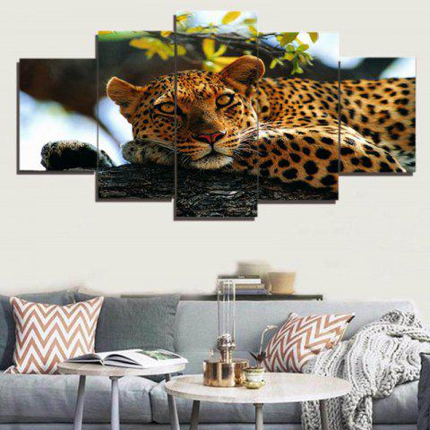 Fancy Unframed Tree and Leopard Pattern Canvas Paintings BROWN LEOPARD 1PC:8*20,2PCS:8*12,2PCS:8*16 INCH( NO FRAME )
