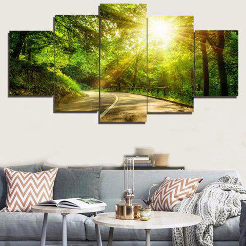 Fancy Woods Sunlight Print Unframed Canvas Painting - 1PC:8*20,2PCS:8*12,2PCS:8*16 INCH( NO FRAME ) GREEN Mobile