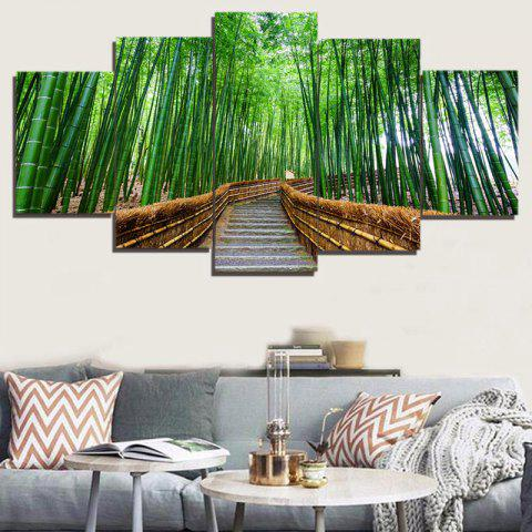 Outfits Unframed Bamboo Tree-lined Trail Paintings - 1PC:8*20,2PCS:8*12,2PCS:8*16 INCH( NO FRAME ) GREEN Mobile