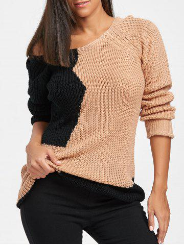 Outfit Loose Fit V Neck Color Block Sweater COLORMIX ONE SIZE