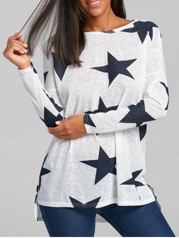 Discount Star Graphic Sheer Knit Sweater - M WHITE Mobile