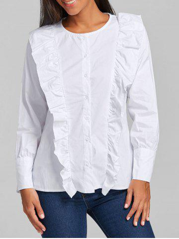 Store Casual Ruffle Button Up Blouse WHITE L