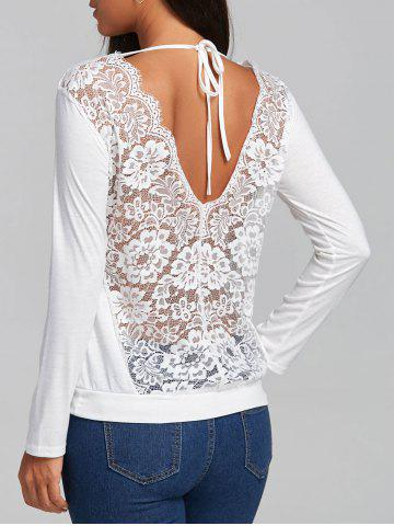 Cheap Lace Hollow Out Back V Blouse WHITE L
