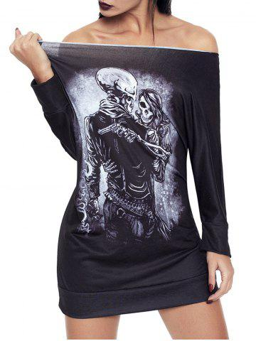 Outfit Halloween Off The Shoulder Skeleton Print Dress