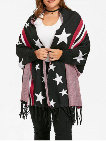 Discount Fringe Striped Star Plus Size Sweater Cardigan - ONE SIZE BLACK Mobile