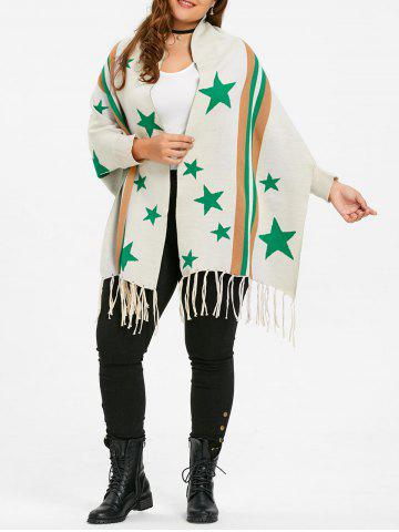 Unique Fringe Striped Star Plus Size Sweater Cardigan