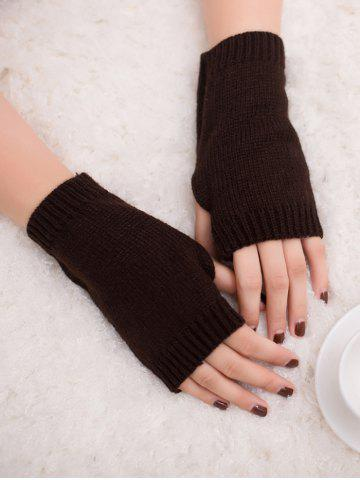 Latest Outdoor Knit Fingerless Gloves - COFFEE  Mobile