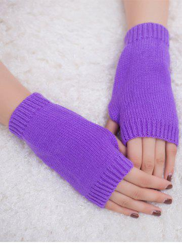 Best Outdoor Knit Fingerless Gloves - PURPLE  Mobile