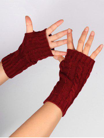 Fancy Outdoor Hollow Out Embellished Knitted Exposed Finger Gloves - WINE RED  Mobile