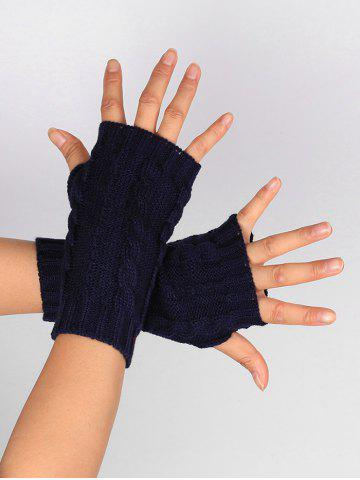 Fashion Outdoor Hollow Out Embellished Knitted Exposed Finger Gloves