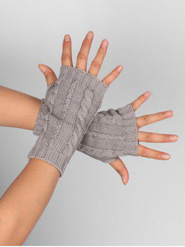 Affordable Outdoor Hollow Out Embellished Knitted Exposed Finger Gloves