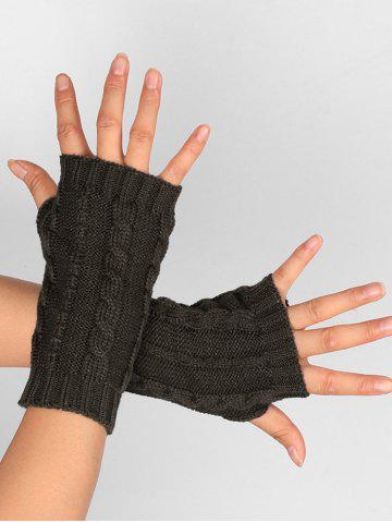Shop Outdoor Hollow Out Embellished Knitted Exposed Finger Gloves - DEEP GRAY  Mobile