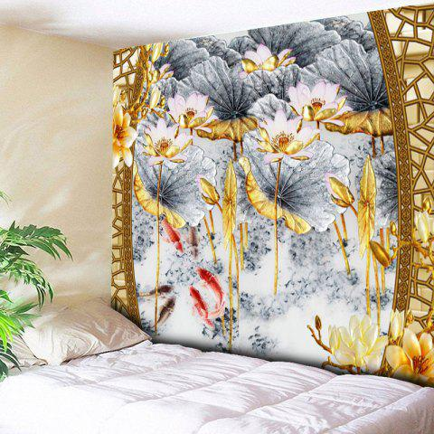 Cheap Lotus Print Decorative Wall Hanging Tapestry - W59 INCH * L59 INCH COLORMIX Mobile