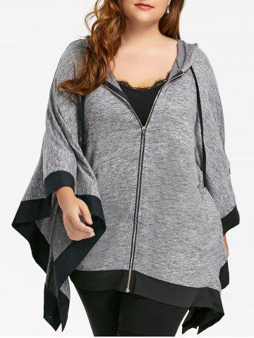 Online Dolman Sleeve Hooded Plus Size Zip Up Cape Coat - XL BLACK Mobile