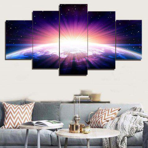 Shops Earth Starry Sky Print Unframed Canvas Paintings - 1PC:8*20,2PCS:8*12,2PCS:8*16 INCH( NO FRAME ) BLUE Mobile
