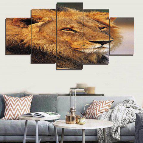 Unique Lion Head Print Unframed Canvas Split Paintings BROWN 1PC:8*20,2PCS:8*12,2PCS:8*16 INCH( NO FRAME )