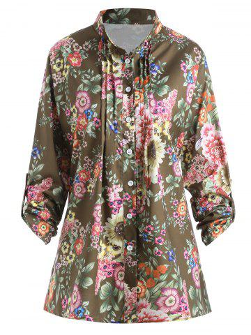 Hot Plus Size Pleated Floral Print Blouse DARK CAMEL 3XL