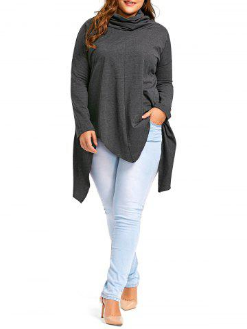 Hot Plus Size Long Sleeve Drop Shoulder Handkerchief Top