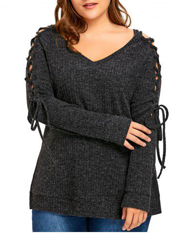 Cheap Plus Size Long Sleeve Ribbed Side Slit Lace Up Top - 3XL DARK GREY Mobile