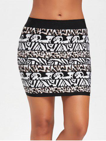 Cheap Bodycon Jacquard Bandage Skirt BLACK M