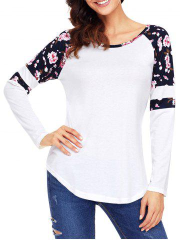 Discount Floral Insert Raglan Sleeve Tunic Top WHITE M