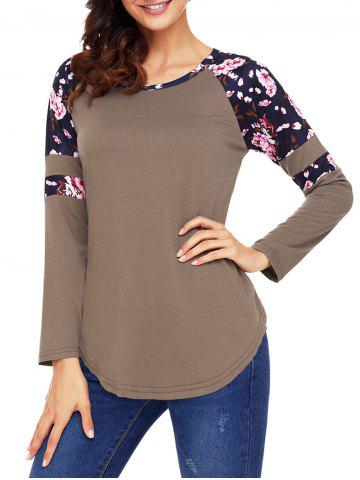 Chic Floral Insert Raglan Sleeve Tunic Top - XL BROWN Mobile