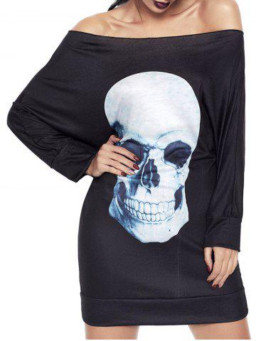 Online Halloween Off The Shoulder Skull Print Dress BLACK XL